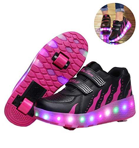 llh Mädchen Jungen Mode LED Rollenschuhe LED Lichter Blinken Rollschuh Kinder Skates Schuhe Outdoor-Sportarten Skateboardschuhe Mit Rollen,RoseRed-33