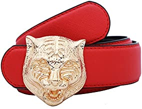 Yuangu Men's Big Tiger Buckle 38-mm Italian Leather Belt (110cm/43.3inch (37-39), Red Gold)