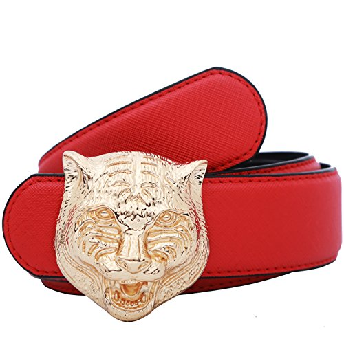 Yuangu Men's Big Tiger Buckle 38-mm Italian Leather Belt (110cm/43.3inch (37-39), Red Gold)