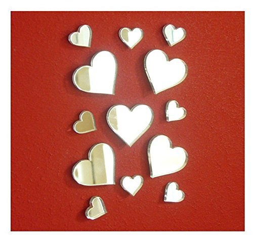 MEYA, adesivi a specchio a forma di piccoli cuori, in acrilico, confezione da 50