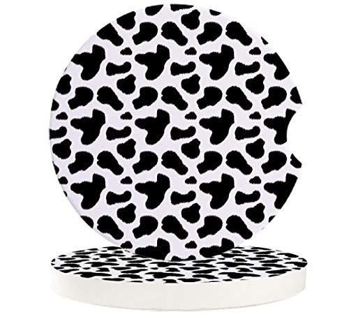 Absorbent Car Coasters for Cup Holders Set of 2, Cow Skin Printed Patterns 2.56inch Ceramic Stone Drink Coaster Car Accessories for Women Men, Black and White