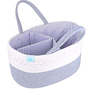 Diaper Caddy Organizer Basket -100% Cotton Bag for Changing Table with Diaper Stackers – Home & Car Caddies for Boy & Girl Nursery Organization Rope Storage Bin –