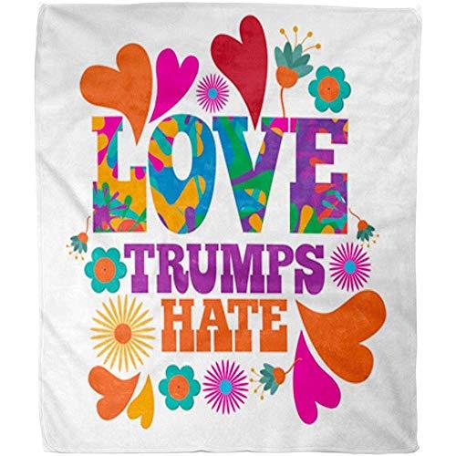 Throw Blanket Amore Colorato Briscole Odio bloemen en harten Psychedelici textuur oranje Fuzzy Tiro deken warm zacht hotel dekbed sofa sprei van fleece deken kantoor woonkamer 102X12