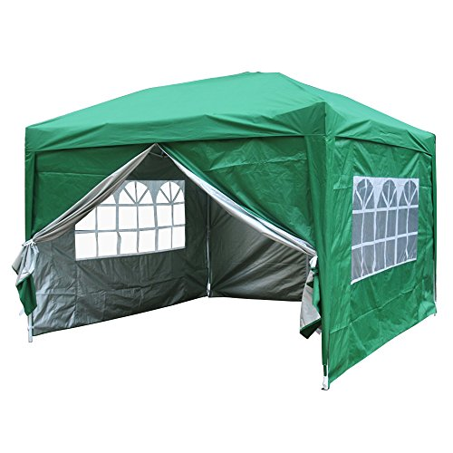 Greenbay Green Pop-up Gazebo Marquee Canopy with 4 Side Panels and Carrybag - 3m x 3m
