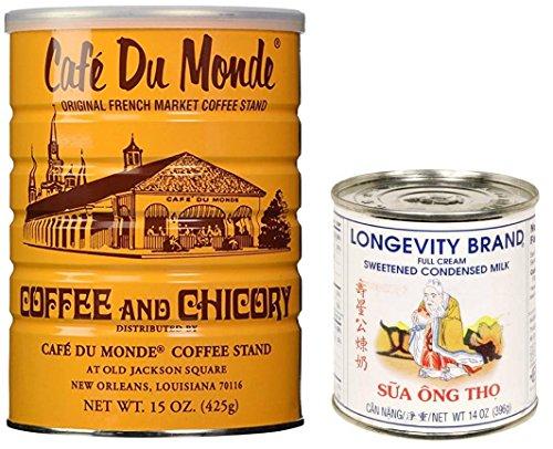 Cafe Du Monde coffee and Longevity brand condensed milk (Pack of 2)