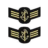 2 parches de galones dorados con 3 estacas, parches militares y termoadhesivos de grado Sergent para personalizar ropa y accesorios, 8,5 x 4,3 cm