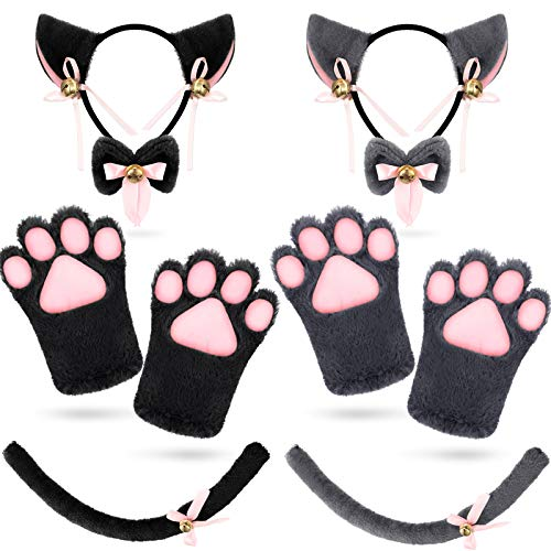 2 Sets Cat Cosplay Costume Accessories Kit Cat Ears Tail Collar Paws Gloves Set for Girls and Woman Lolita Gothic Halloween (Grey, Black)