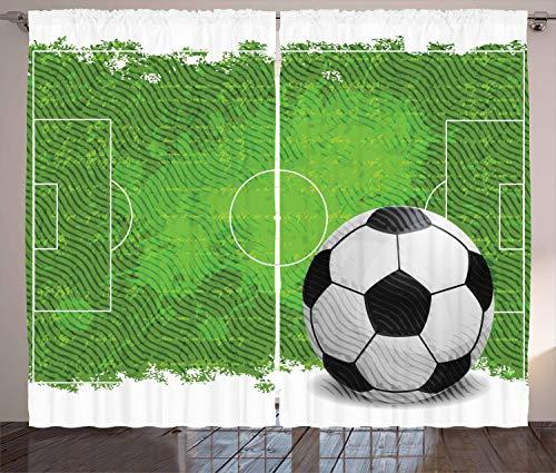 ABAKUHAUS Fußball Rustikaler Gardine, Grunge Fußball Design, Schlafzimmer Kräuselband Vorhang mit Schlaufen und Haken, 280 x 260 cm, Weiß Schwarz Grün