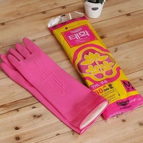 ゴム手袋 ロング キッチン手袋 キッチングローブ キムチ用 手袋 韓国 ゴム手袋 お得な2枚セット 2001 (Mサイズ)