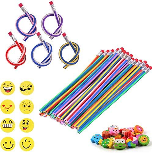 53 Stück Party Bags Filler, 25 Biegsam Flexible Magische Bleistifte, 20 Smiley Tier Radiergummis Rubber Radierer, 8 Smiley Radiergummis Geschenke Kinder