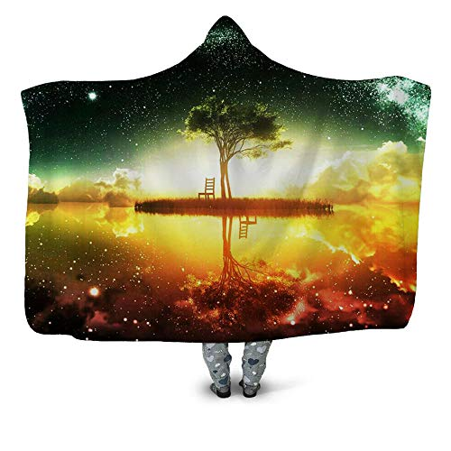 NSWSYDM 3D Hoody Blanket for Adults Child Plush Warm Cloak Green Starry Sky White Clouds the Comfy Warm Sherpa Blanket 51x59 inch Fits All Gift for Christmas Birthday New Year