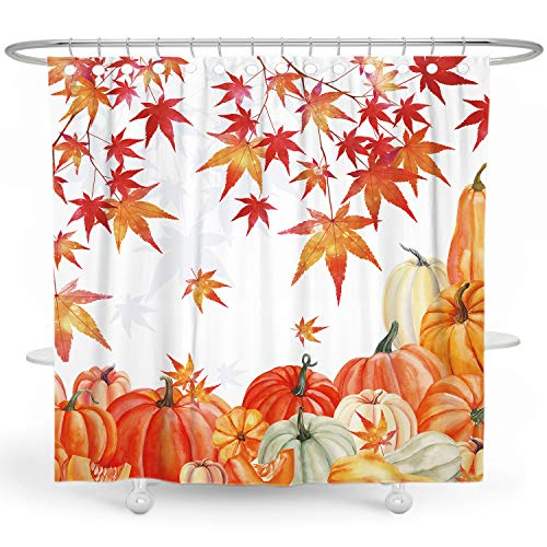 BARGHE Thanksgiving Shower Curtain Holiday Shower Curtains for Bathroom Fall Shower Curtain Pumpkin Autumn Shower Curtain Farm Shower Curtain Harvest Polyester Waterproof Shower Curtain 72x72 Inch