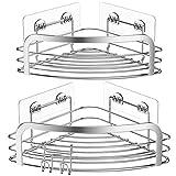 Avoalre Estantería de Esquina Adhesivo para Ducha Baño Cocina Triangular Organizador Estantes Cesta Acero Inoxidable Sus 304 con Gancho Extraíble sin Taladro, 2 Unidades