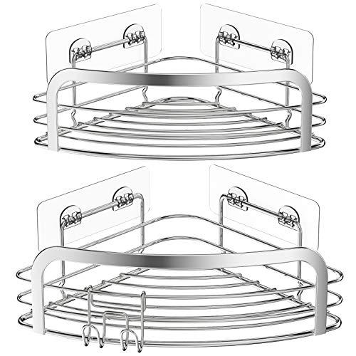 Avoalre Set Med 2 Hörnduschhål Borrfria Badrumshylla Självhäftande Rostfritt Stål Triangelkorg Förvaring för Schampotvål Med Krokar