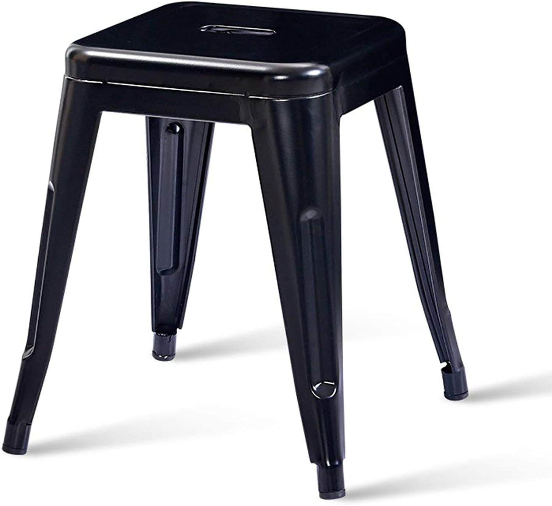 CJH Modern Minimalist Iron Stool Fashion Creative Stool Table Stool Home Living Small Bench Black Adult Stool