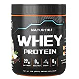 Nature4U Zero Carb,22g Protein, 100% Whey Protein, Keto Friendly Protein Powder, No Added Colors/Flavors/Sweeteners, GMO Free Flavor: Gourmet Vanilla, 1 lb