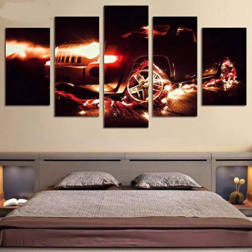 WWMJBH 5-delige canvas kunst creatieve auto en vonken druk muurkunst Home Decoratie Canvas Schilderij Afbeelding Posters en drukvoorwerpen Canvas Afbeelding 5 Modern 200x100cm