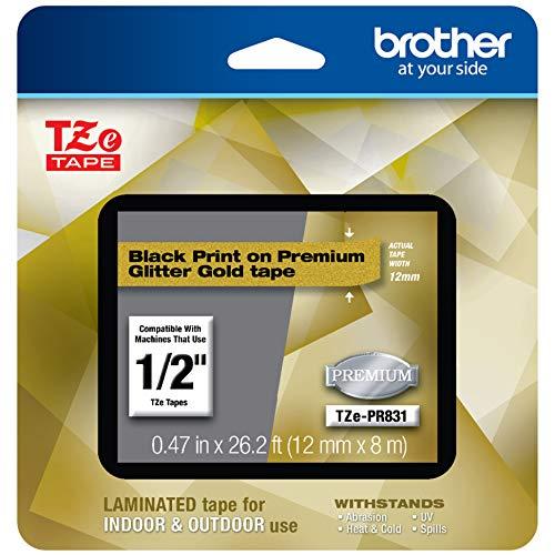 "Brother TZEPR831 P-touch TZe-PR831 Black Print on Premium Laminated Tape 12mm (0.47"") wide x 8m..."