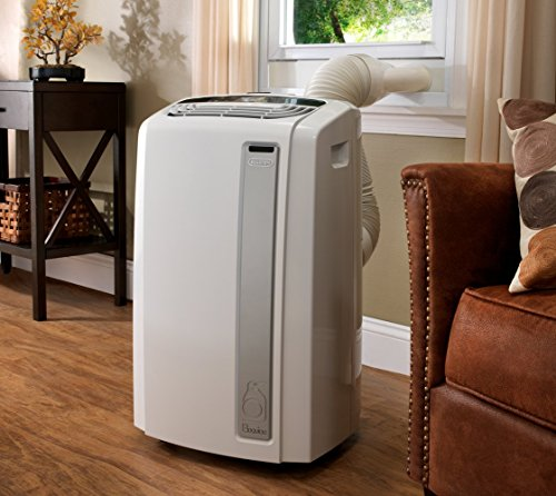 De'Longhi 3-in-1 Portable Air Conditioner, Dehumidifier & Fan + Arctic Whisper Quiet Mode, Remote Control & Wheels, 450 sq ft, Large Room, 12000 BTU, White, PACAN120EW