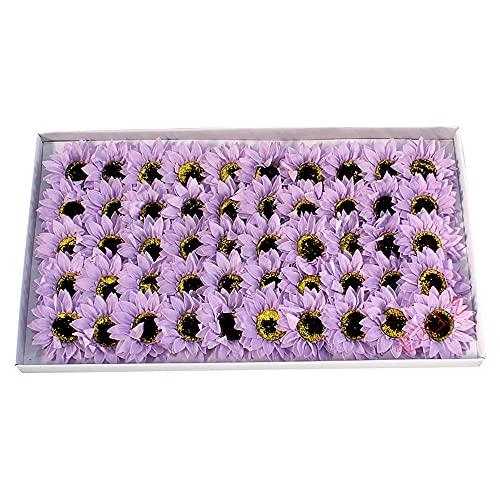 UWEL 50 piezas de jabón con aroma de flores de girasol y pétalos de girasol, aceite esencial, jabón de girasol, en caja de regalo para aniversario, cumpleaños, boda, Navidad (morado)