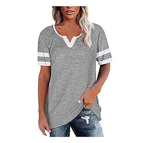 Blusa Mujer Cómodo Empalme con Cuello En V Rayas Mujer Camisa Generoso Clásico Transpirable Elasticidad Colocación Única Simplicidad Agradable para La Piel Mujer Tops C-Light Grey 3XL