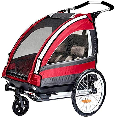 Haibeisi Kinder Faltrad Anhänger 2-Sitzer Mehrzweck Jogger, mit 360 ° drehbaren Rad Fahrradanhänger Kinderwagen Kinderwagen for Zwei Kinder zu verwenden,