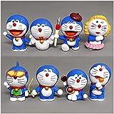 No Anime japonés Cartoon Doraemon Mini Cute PVC Figuras Juguetes Muñecas 8pcs / Set Anime Regalos Juguetes Kits Modelo