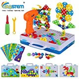 224 Pieces STEM Engineering Toys, Electric Drill Puzzle Toys and Button Art Kit
