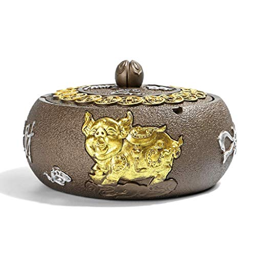Regalo de Escritorio Decoración Redonda Fumadores Bronce de Dormitorio Antiguo con Tapa Inicio A Prueba de Viento Tray de Ceniza de cerámica (Color: Oro) YXF99 (Color : Gold)
