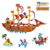 Linxies Pirate Adventure Kids Play Set, Build-Your-Own Pirate Ship Toy Adventure - STEM Toy for Boys and Girls Ages 6-11