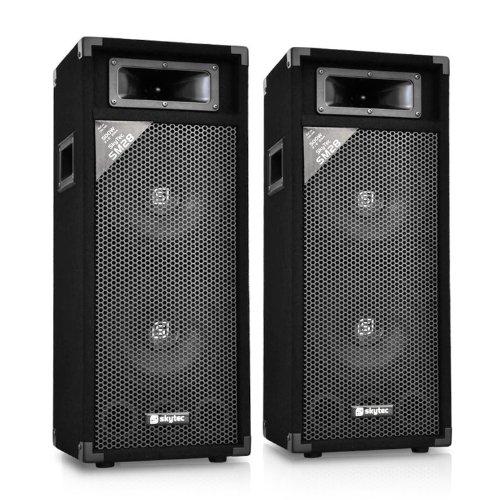 Skytec SM28 PA-Lautsprecher-Boxen Paar (2-Wege-Boxen, 2 Etagen, 2x 250 Watt, 2x 2 20cm Subwoofer, passiv) schwarz