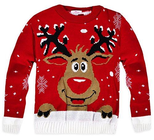 NAZ Fashion Jersey de Punto para niños, Unisex, diseño navideño de Reno Rudolph (Rojo, 7-8 Años)