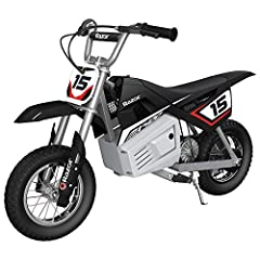 Geared for dirt with large 12-inch pneumatic knobby tires for maximum power transfer Single speed, chain driven motor for super quiet, yet powerful operation Scaled down dirt bike design carries riders up to 140 pounds High torque motor with twist gr...