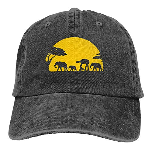 Hoswee Unisex Kappe/Baseballkappe, Elephants and Imperial Walker Across African Safari Men/Women Fashion Adjustable Baseball Cap Jeanet Back Closure Plain Hat