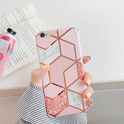 Jinghuash Kompatibel mit iPhone 6 Plus Hülle,Handyhülle für iPhone 6S Plus Cover Rosa Marmor Muster Glitzer Glänzend Ultradünn Weich Durchsichtig TPU Silikon Schutzhülle Handytasche Etui,Marmor#2