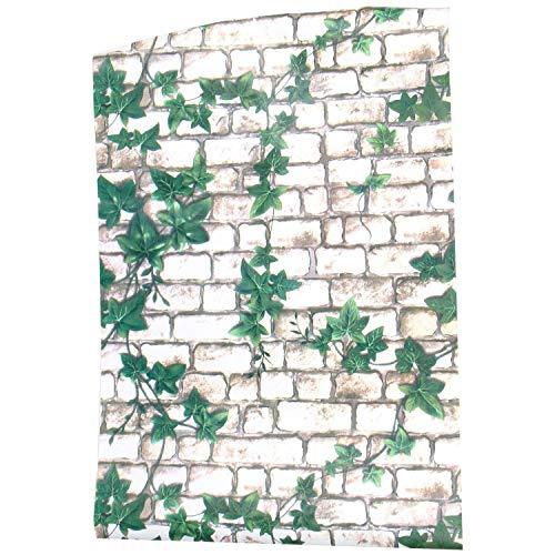 OVBBESS Pegatinas 3D tridimensionales de ladrillo de imitación impermeable para pared, autoadhesivas, 45 x 100 cm, color blanco y verde