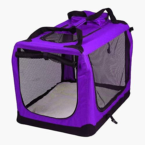AVC Designs Extra Large Pet Carrier Purple Folding Dog Cat Puppy Kitten Rabbit Travel Transport Bag (XL)