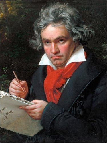 Posterlounge Leinwandbild 50 x 70 cm: Ludwig Van Beethoven von Joseph Karl Stielers - fertiges Wandbild, Bild auf Keilrahmen, Fertigbild auf echter Leinwand, Leinwanddruck
