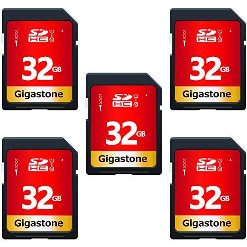 Gigastone Scheda di Memoria SDHC da 32 GB, Multipack con 5 Schede, Velocità di Lettura Fino a 80 MB/sec, Classe 10 U1 UHS-I, Specialmente per Fotocamere Videocamera Telecamera PC