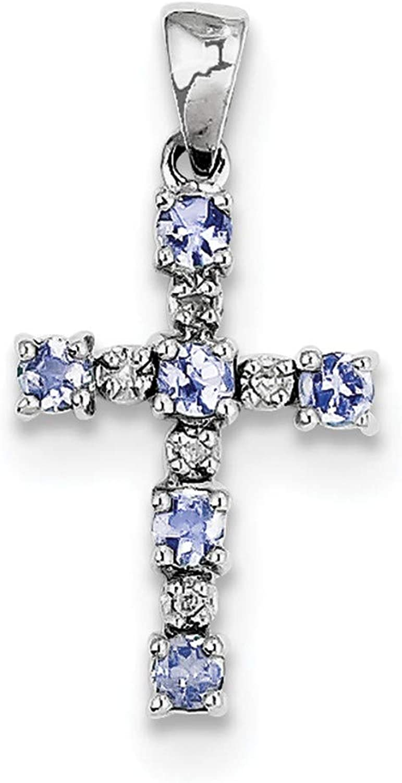 Bonyak Jewelry Sterling Silver RhodiumPlated Tanzanite & Diamond Pendant