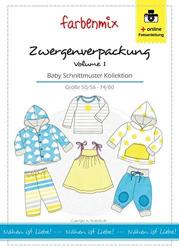 Zwergenverpackung Farbenmix Schnittmuster (Papierschnittmuster für die Größen 50/56 - 74/80), Babykollektion