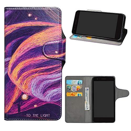 HHDY LG K8 2018 Funda, Diseño PU Cuero Libro Soporte Plegable y Ranuras para Tarjetas Dibujos Caso Cover para LG K8 2018 / K9 2018,Brilliant Purple