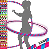 ULTRA-GRIP Pro Hula Hoops (100cm/39') UV Weighted TRAVEL Hula Hoop/Hula Hoops For Exercise, Dance & Fitness! (680g) NO Instructions Needed - Same Day Dispatch! (UV Pink/UV Blue)