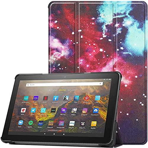 FANRTE Funda para tablet Amazon Kindle Fire HD 10 y 10 Plus (versión 11.ª generación, versión 2021) - Funda delgada de piel sintética con soporte triple para PC con apagado automático/sueño (Galaxy)