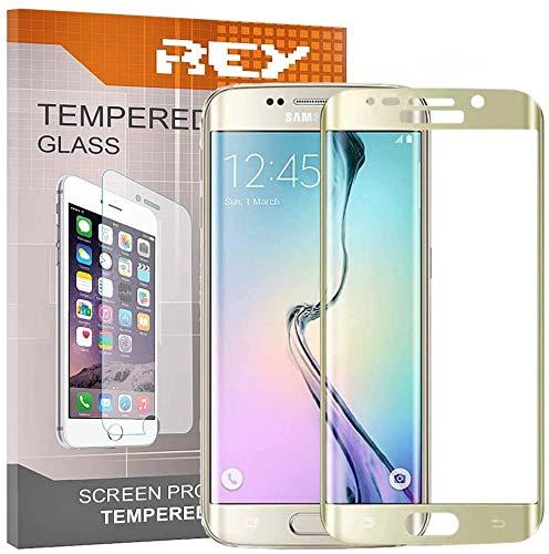 REY Pack 2X Panzerglas Schutzfolie für Samsung Galaxy S7 Edge, Gold, Displayschutzfolie 9H+, Polycarbonat, Härte, Anti-Kratzen, Anti-Öl, Anti-Bläschen, 3D / 4D / 5D