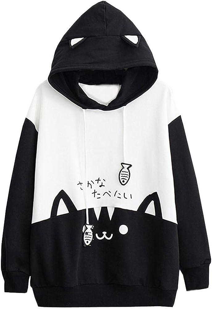 Aniwood Cute Hoodies for Women Kawaii Cute Cat Print Sweatshirt Hooded Casual Long Sleeve Pullover Tops Blouse Sweaters