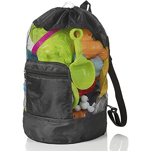 AODOOR Bolsa de playa para juguetes, bolsa de playa de malla, bolsa de playa, mochila para juguetes de agua, bolsa de natación plegable, bolsa de malla, mochila con cordón para vacaciones familiares