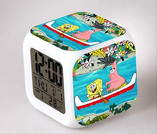 HHIAK666 Spongebob 7 Farbwecker, Led-Quad-Uhr, Schüler Und Kinder Kreative Geschenk Farbe Ändern Wecker 8Cm 52