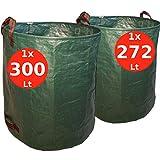 7doo Confezione 272L + 300L Sacchi da Giardinaggio, Resistente Sacco Raccogli Foglie Erba di 2a Generazione, Prodotto Professionale, Attrezzatura Giardino e Giardinaggio, in Polipropilene Pieghevole