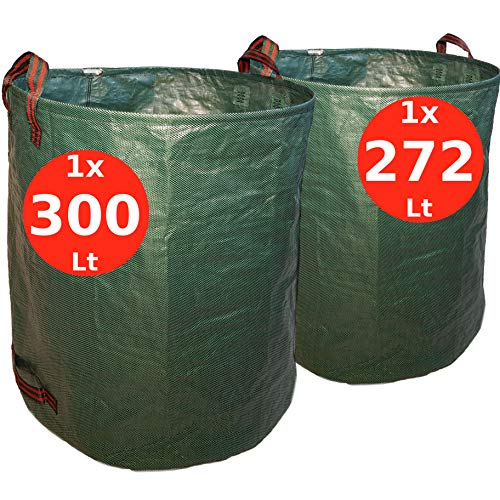 7doo Confezione 272L + 300L Sacchi da Giardinaggio, Resistente Sacco Raccogli Foglie Erba di 2a...